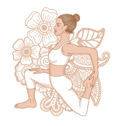 Women silhouette one-legged king pigeon yoga pose vector