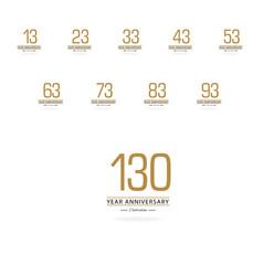 Year anniversary set gold elegant template design vector