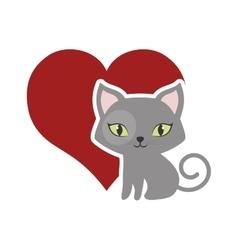 cat fluffy lovely animal red heart vector image