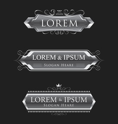 silver logos calligraphic design template vector image vector image