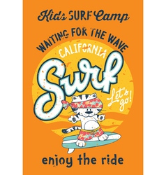 Cute kitten surfing camp vector image vector image