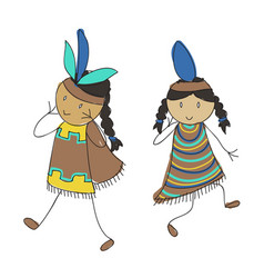 native american kids vector image