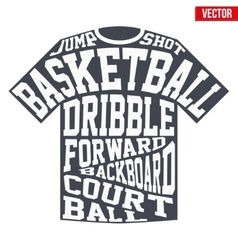 T-shirt sports symbols of basketball with vector