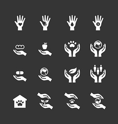 charity and donation silhouette icons flat line vector image