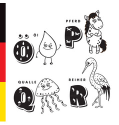 deutsch alphabet olive oil horse jellyfish vector image vector image