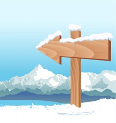 direction sign with winter vector image vector image