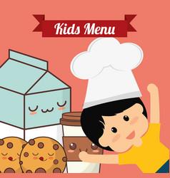 kids menu chef child milk cookie vector image