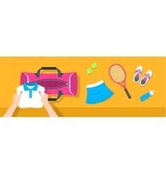 Woman puts tennis stuff into sport bag banner vector image vector image