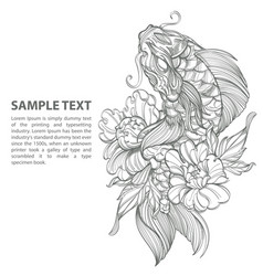 contour image of koi fish with flower japanese vector image vector image