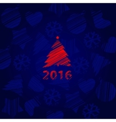 New year card with tree on a blue background vector image vector image