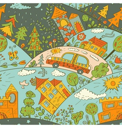 Seamless pattern with colored houses vector image