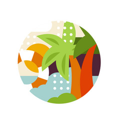 tropical landscape with palms and lifebuoy in logo vector image vector image
