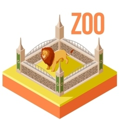 Zoo Lion isometric icon vector image vector image