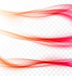 Abstract smooth red swoosh web wave set vector