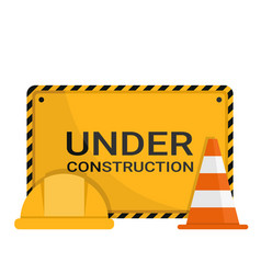 Advertising sign with safety cone safety helmet vector