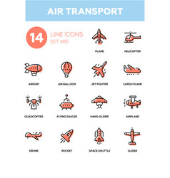 Air transport - line design icons set vector