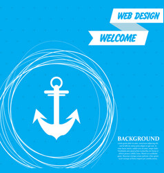 anchor icon on a blue background with abstract vector image