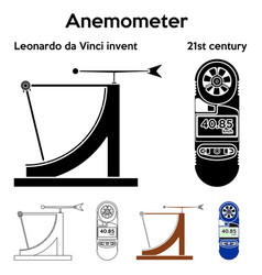Anemometer leonardo da vinci invent outline only vector