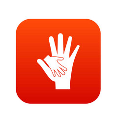 baby and mother hand icon digital red vector image