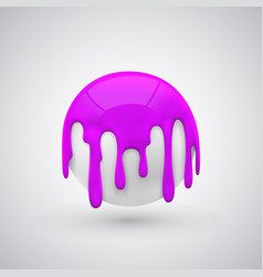 Ball with paint drops purple vector