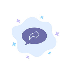 Basic chat arrow right blue icon on abstract vector