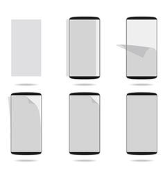 Black smartphones display with protector glass set vector