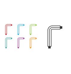 Black tool allen keys icon isolated on white vector