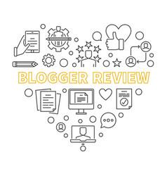 Blogger review concept outline heart vector
