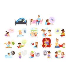 boys and girls reading books set kids imagination vector image