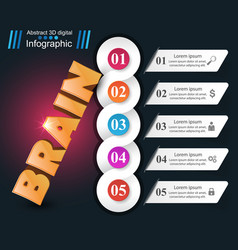brain 3d business infographics vector image