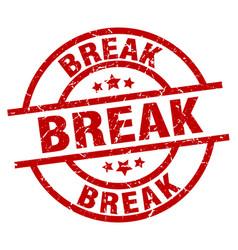 Break round red grunge stamp vector