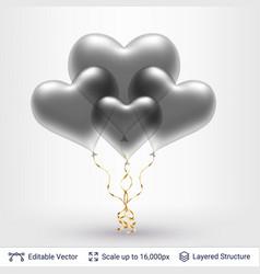Bunch of 3d heart shaped air balloons vector