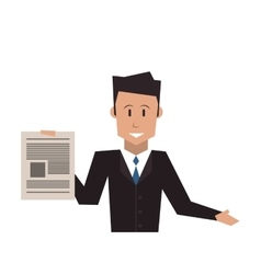 Businessman holding paper document icon vector
