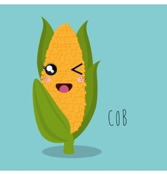 Cartoon cob food facial expression design isolated vector