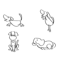 Cartoon doodle dogs outline vector