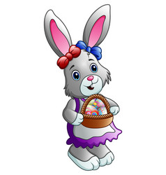 Cartoon easter bunny with a basket full of eggs vector