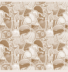 cartoon fast food and drinks seamless pattern vector image