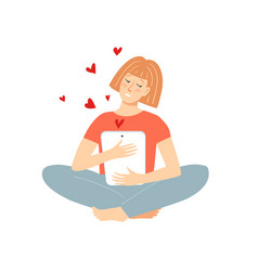 Cheerful woman in lotus pose holding tablet with vector