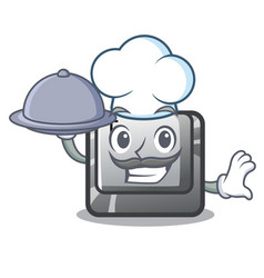Chef with food button t in keyboard cartoon vector