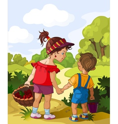 children walking in the forest vector image