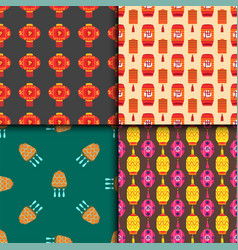 chinese lantern collection seamless pattern vector image