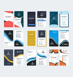 Collection of vertical business card templates vector