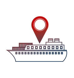 container ship shipping pointer map location vector image