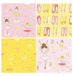 Cute Balerina Background Set - 4 Seamless Pattern vector