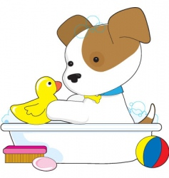 cute puppy bath vector image