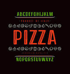 Decorative sanserif font and pizza box cover vector