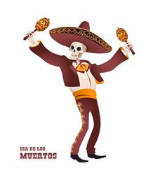 dia de muertos mariachi musician skeleton maracas vector image
