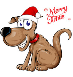 dog santa claus with merry christmas text isolated vector image