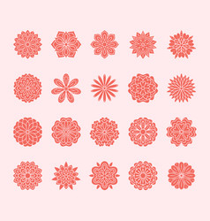 doodle flowers set pink red color beautiful vector image