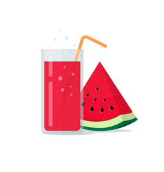 Drink glass watermelon smoothie or fresh juice vector